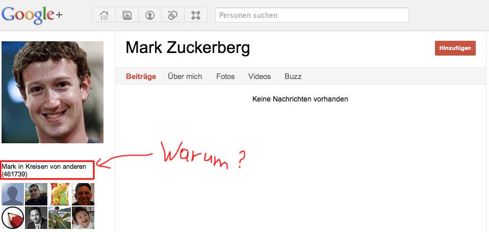 Mark Zuckerberg hat schon über 460000 Follower bei G+